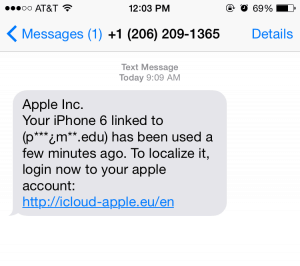 iCloud Apple ID and Password Phishing Text Message