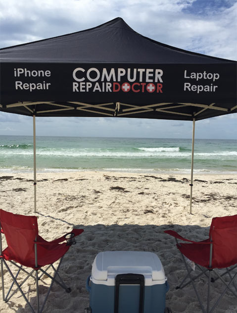 computer repair doctor at the beach
