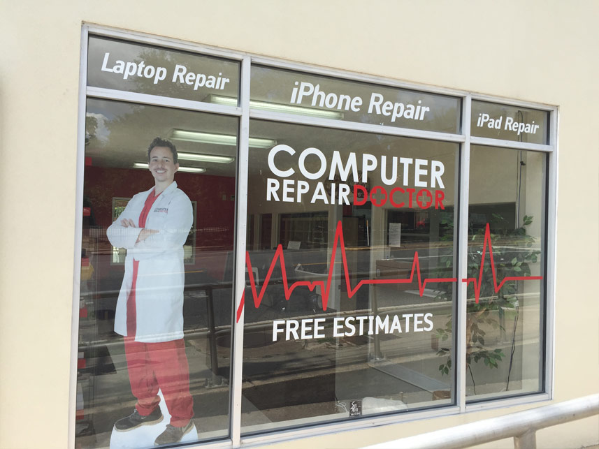 computer repair doctor storefront window