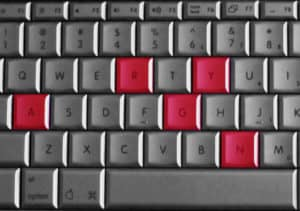 Picture of a keyboard with the word angry spelled on it
